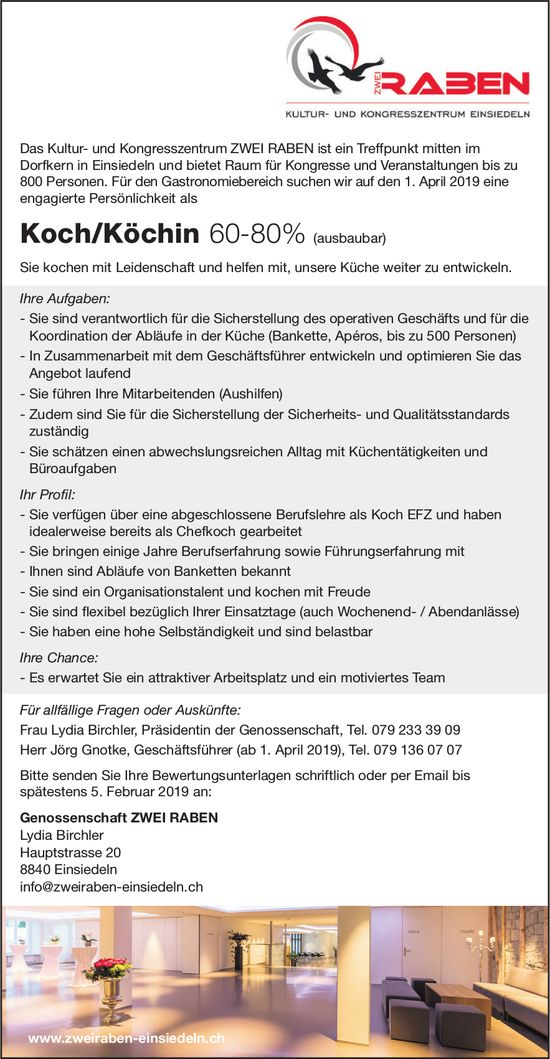 Koch/Köchin 60-80% (ausbaubar), Kultur- und Kongresszentrum ZWEI RABEN
