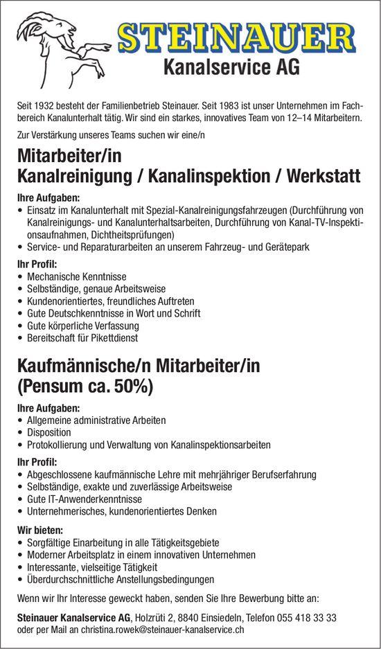 Mitarbeiter/in Kanalreinigung / Kanalinspektion / Werkstatt, Steinauer Kanalservice AG