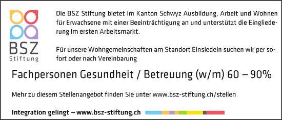 Fachpersonen Gesundheit / Betreuung (w/m), 60-90%, BSZ Stiftung