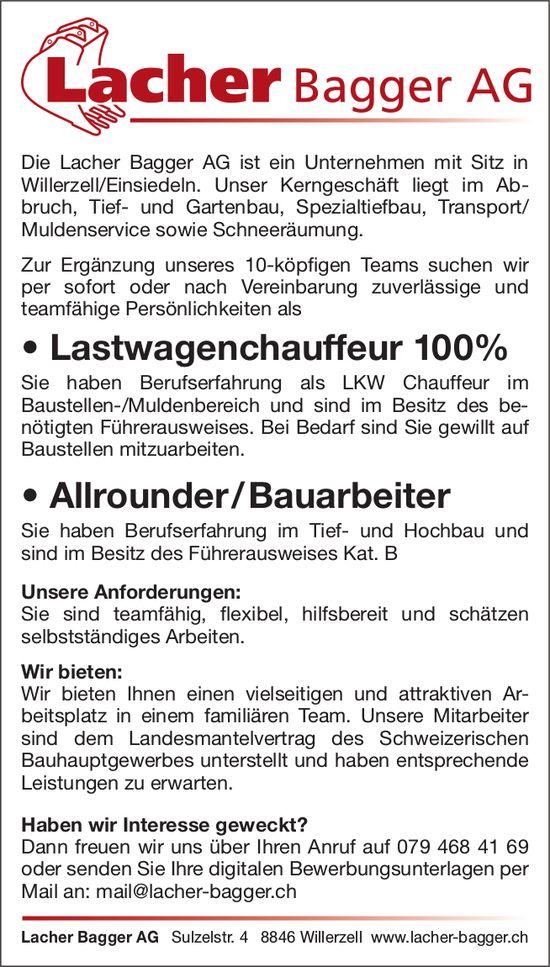 Lastwagenchauffeur 100% & Allrounder/Bauarbeiter, Lacher Bagger AG