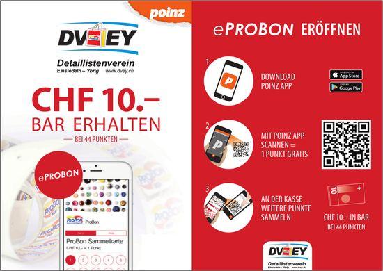 eProBon eröffnen - CHF 10.- bar erhalten, DVEY