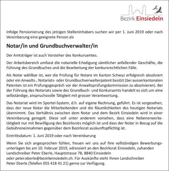 Notar/in und Grundbuchverwalter/in, Bezirk Einsiedeln