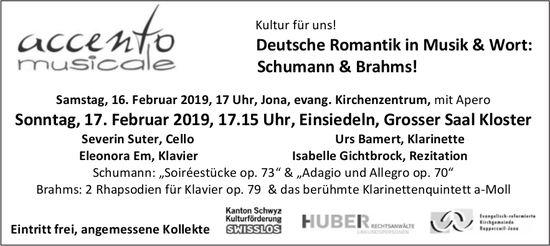 Deutsche Romantik in Musik & Wort: Schumann & Brahms! 16./17. Feb.