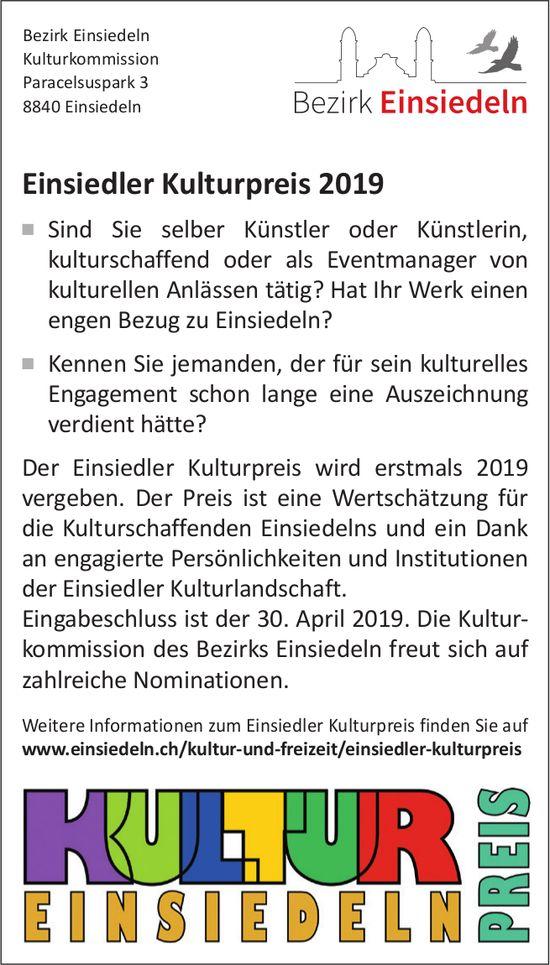 Einsiedler Kulturpreis 2019, Eingabeschluss: 30. April