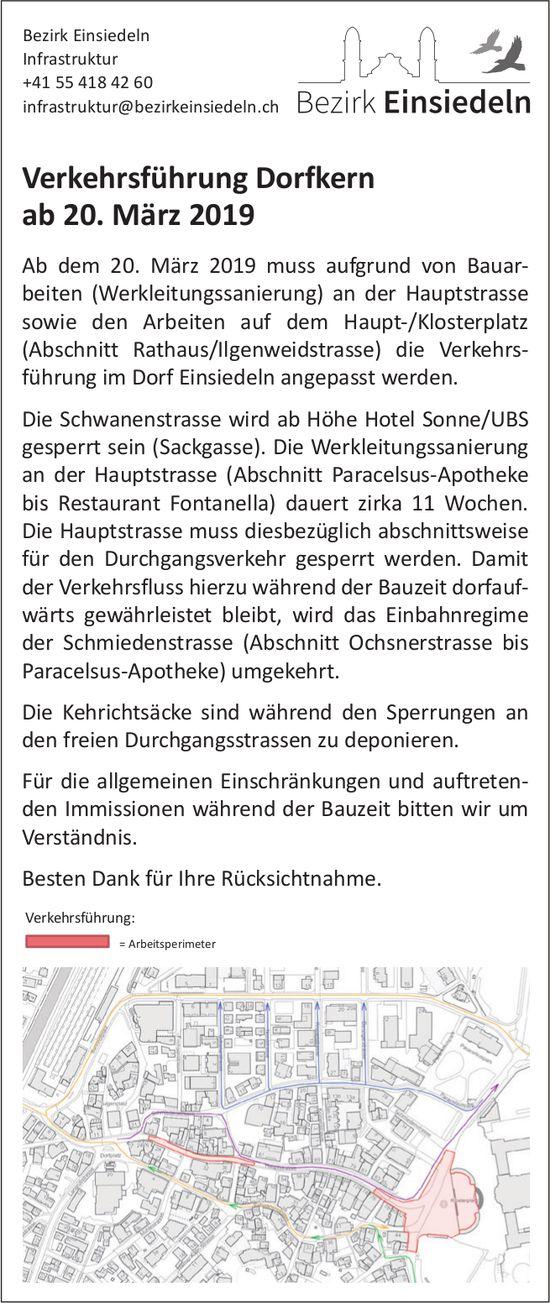 Bezirk Einsiedeln: Verkehrsführung Dorfkern ab 20. März