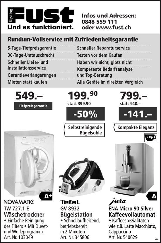 Wäschetrockner / Bügelstation / Kaffeevollautomat, FUST