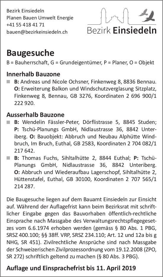Bezirk Einsiedeln, Baugesuche