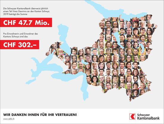 Schwyzer Kantonalbank dankt für Ihr Vertrauen