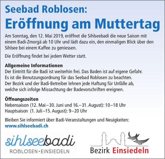 Bezirk Einsiedeln: Seebad Roblosen, Eröffnung am Muttertag