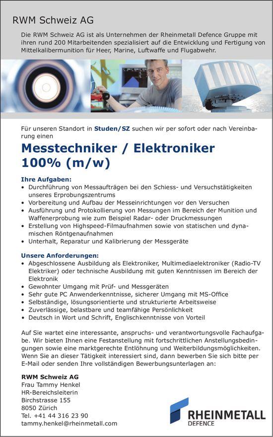 Messtechniker / Elektroniker 100% (m/w) bei RWM Schweiz AG gesucht