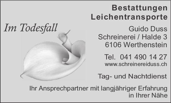 Im Todesfall, Schreinerei Guido Duss, Werthenstein - Bestattungen & Leichentransporte