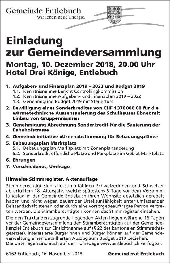 Einladung zur Gemeindeversammlung, 10. Dezember, Hotel Drei Könige, Entlebuch