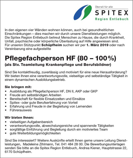 Pflegefachperson HF (80 – 100%), SPITEX Region Entlebuch, gesucht