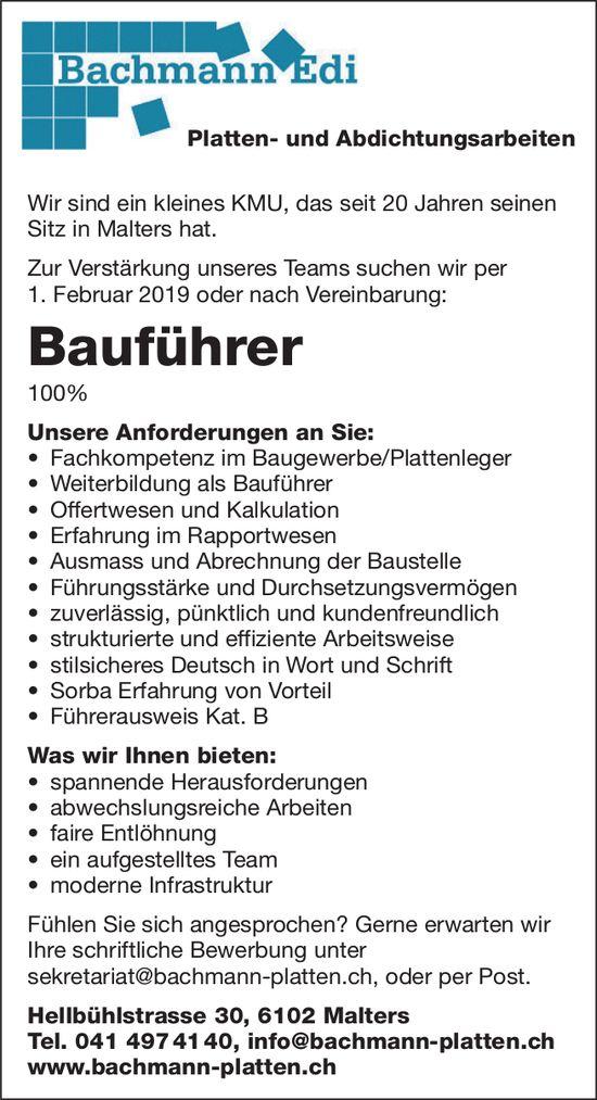 Bauführer 100%, Bachmann Edi, Platten- und Abdichtungsarbeiten, Malters, gesucht