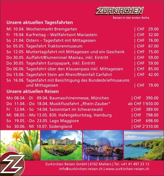 Reiseprogramm, Zurkirchen Reisen GmbH, Malters
