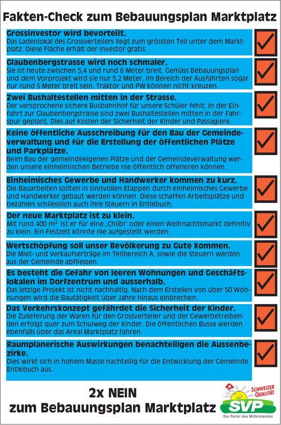 Fakten-Check zum Bebauungsplan Marktplatz - 2 x NEIN zum Bebauungsplan Marktplatz