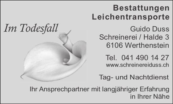 Schreinerei Guido Duss, Werthenstein - Bestattungen & Leichentransporte im Todesfall