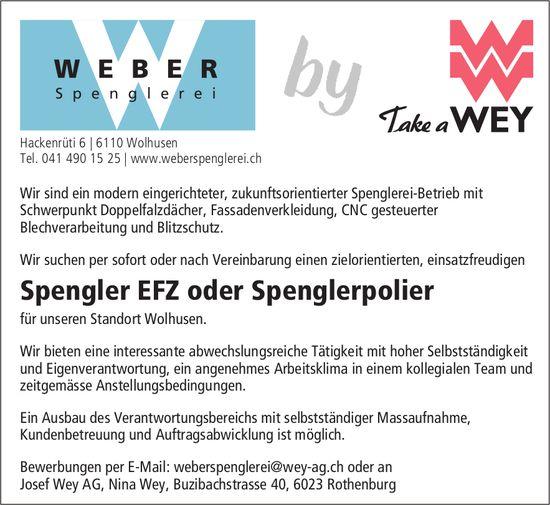 Spengler EFZ oder Spenglerpolier, WEBER Spenglerei, Josef Wey AG, Wolhusen, gesucht