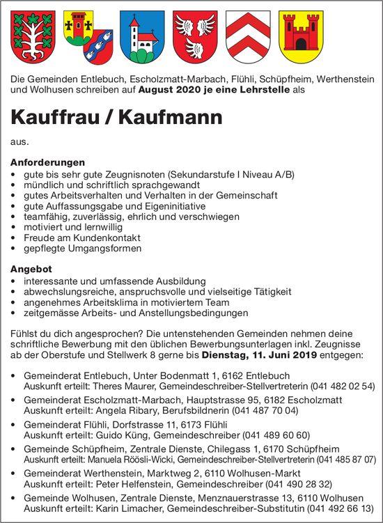 Lehrstellen als Kauffrau / Kaufmann, Gemeinden Entlebuch, Escholzmatt-Marbach, Flühli, Schüpfheim...