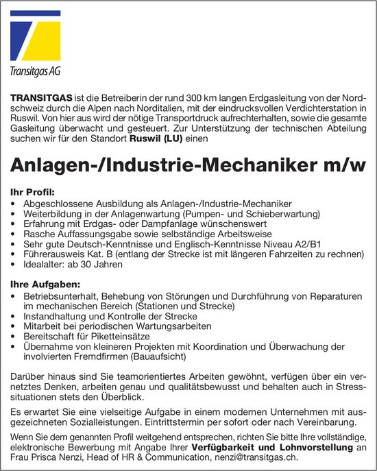 Anlagen-/Industrie-Mechaniker m/w, Transitgas AG, Ruswil LU, gesucht