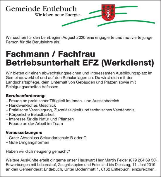 Fachmann / Fachfrau Betriebsunterhalt EFZ (Werkdienst), Gemeinde Entlebuch, gesucht