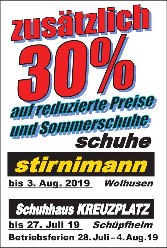 Schuhe Stirnimann, Wolhusen & Schuhhaus KREUZPLATZ, Schüpfheim - zusätzlich 30% Rabatt...
