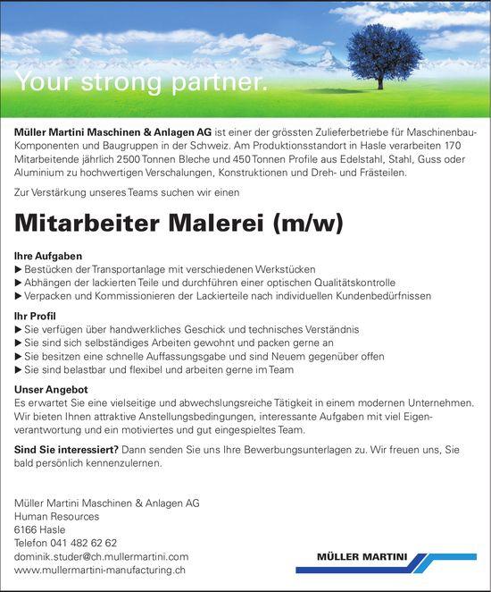 Mitarbeiter Malerei (m/w), Müller Martini Maschinen & Anlagen AG, Hasle, gesucht