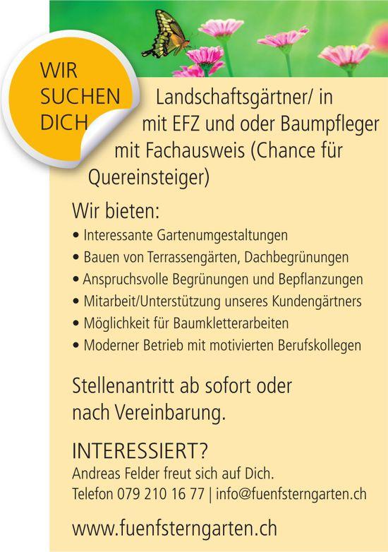 Landschaftsgärtner/in mit EFZ und oder Baumpfleger mit Fachausweis, Fünfsterngarten, gesucht