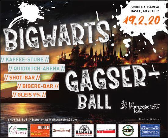 BIGWARTS GANGSTERBALL, 19. Februar, SCHULHAUSAREAL, HASLE