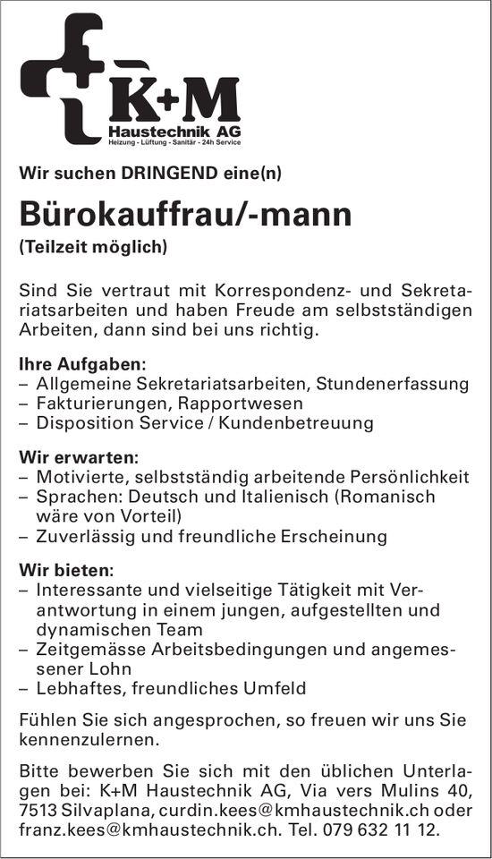 Bürokauffrau/-mann (Teilzeit möglich) dringend bei K+M Haustechnik AG gesucht