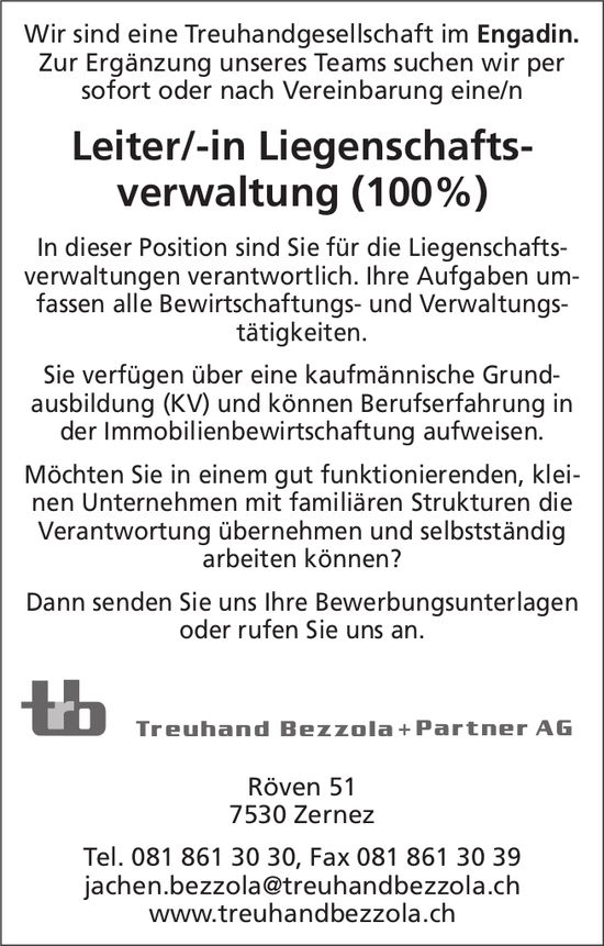 Leiter/-in Liegenschaftsverwaltung (100%) bei Treuhand Bezzola+Partner AG