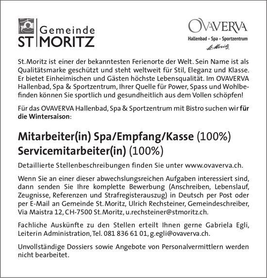 Mitarbeiter(in) Spa/Empfang/Kasse (100%) sowie Servicemitarbeiter(in) (100%) bei Gemeinde St. Moritz