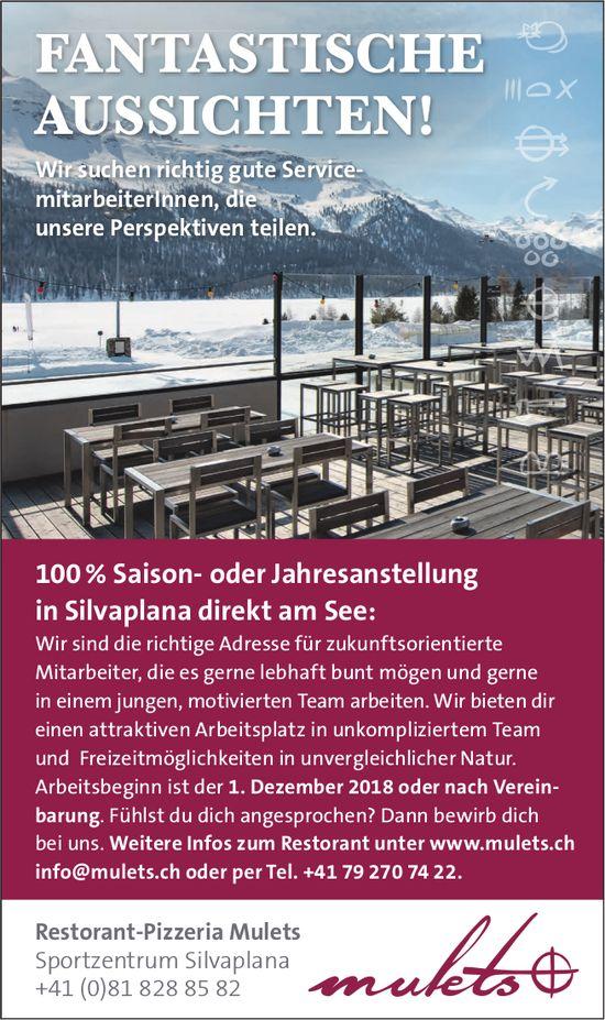 100 % Saison- oder Jahresanstellung in Silvaplana direkt am See bei Restorant-Pizzeria Mulets