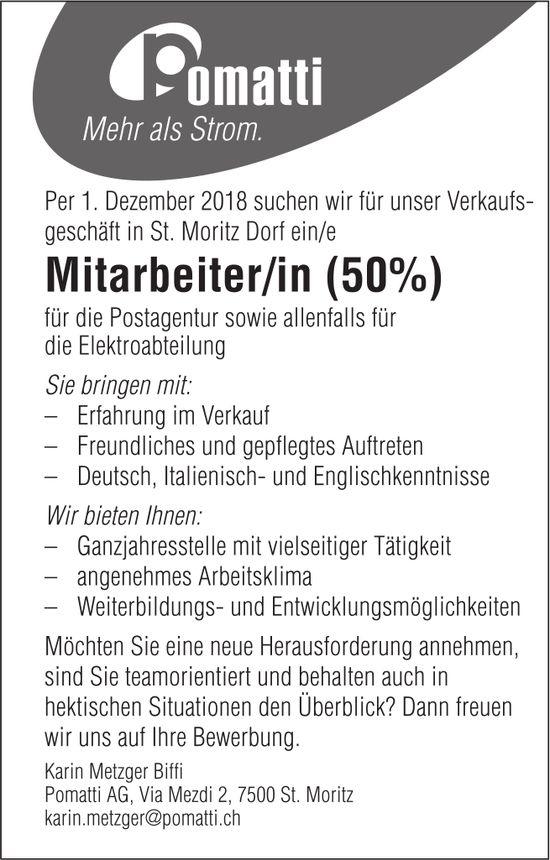 Mitarbeiter/in 50%, Pomatti AG, St. Moritz, gesucht