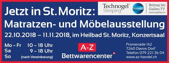 Matratzen- und Möbelausstellung, 22. Oktober - 11. November, A-Z Bettwarencenter, St. Moritz