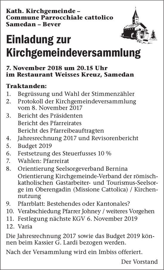 Einladung zur Kirchgemeindeversammlung, 7. November, Restaurant Weisses Kreuz, Samedan