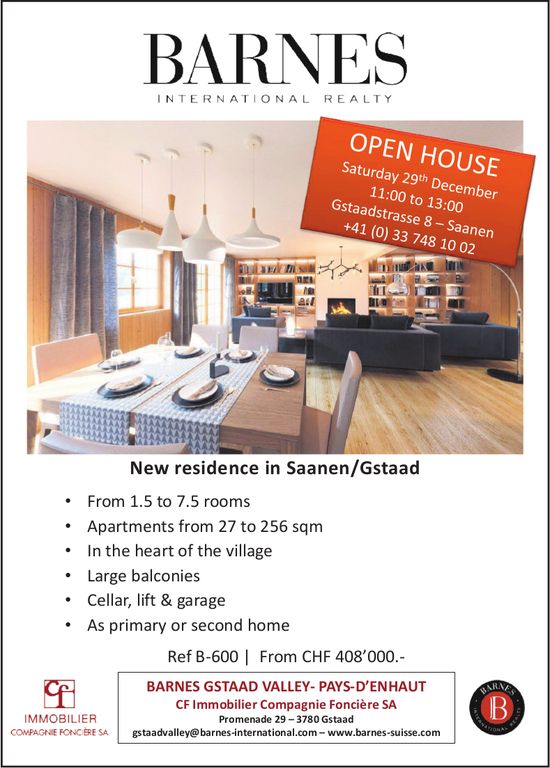 New residence in Saanen/Gstaad, Open House, 29th December
