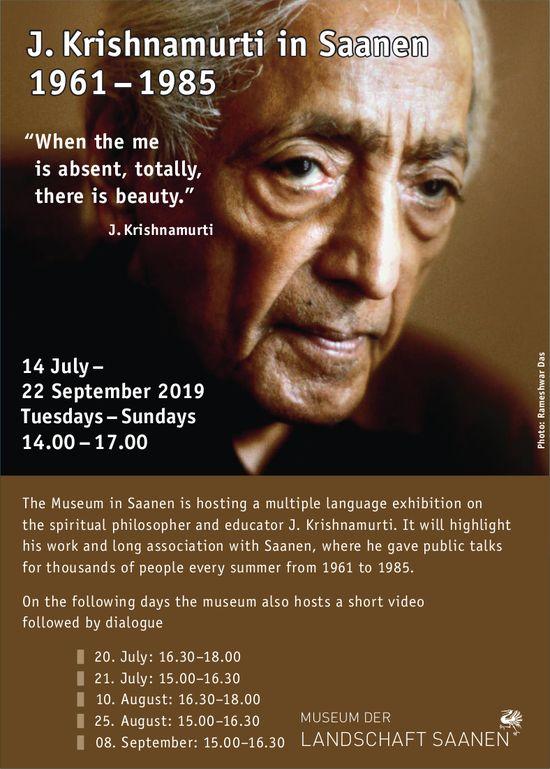 Multiple language exhibition, J. Krishnamurti in Saanen, 14 July - 22 September, Saanen