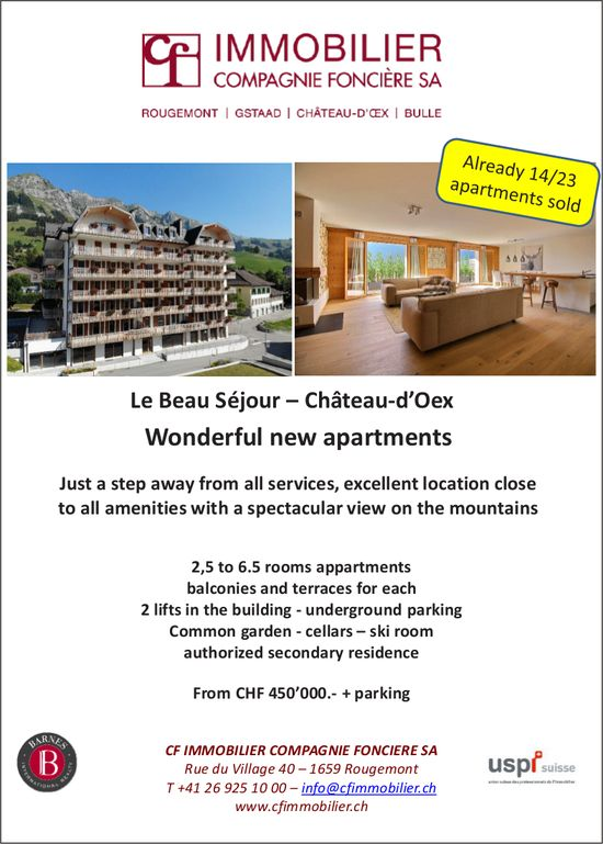 Wonderful new apartments, Le Beau Séjour, Château-d'Oex