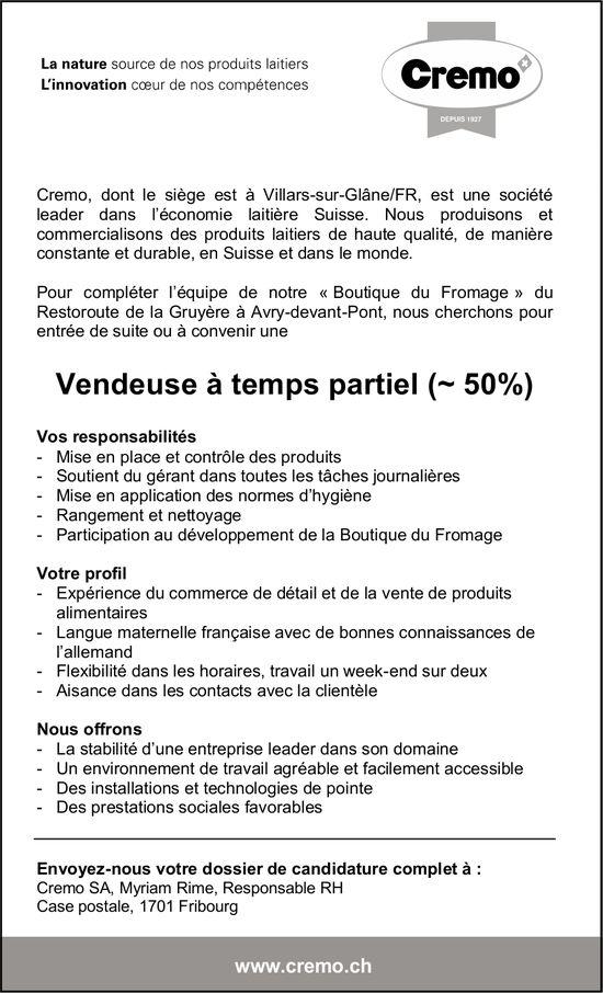 Vendeuse à temps partiel (~ 50%), Cremo, Villars-sur-Glâne, recherché