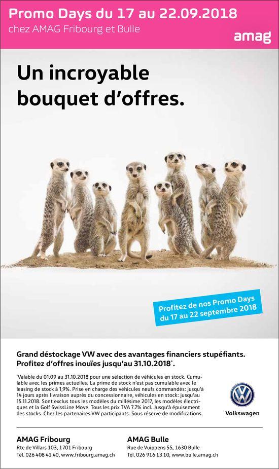 AMAG, Fribourg et Bulle, Grand déstockage VW avec des avantages financiers stupéfiants.