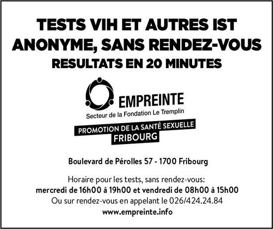 EMPREINTE, Fribourg, Test VIH et autres IST anonyme, sans rendez vous