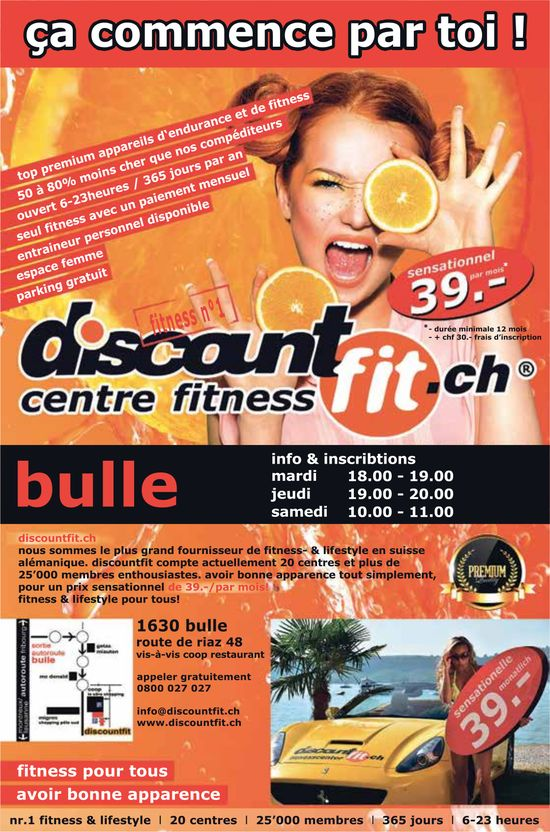 Discount centre fitness, Bulle, Promotion