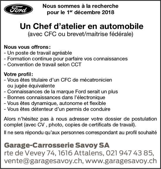 Un Chef d'atelier en automobile (avec CFC ou brevet/maitrise fédérale), Garage Savoy SA, Attalens