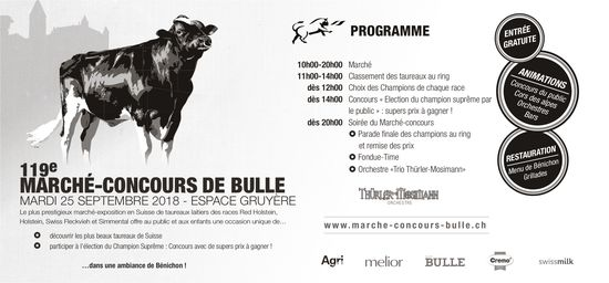 119e MARCHÉ-CONCOURS DE BULLE, 25 SEPTEMBRE, ESPACE GRUYÈRE, BULLE
