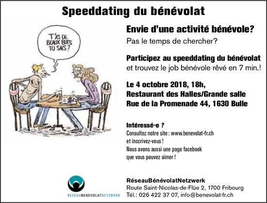 Speeddating du bénévolat, 4 octobre, Restaurant des Halles, Bulle
