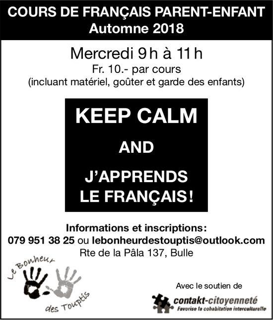 COURS DE FRANÇAIS PARENT-ENFANT, Automne 2018, Inscription maintenant