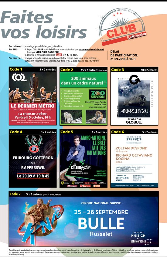 CLUB La Gruyère - Faites vos loisirs