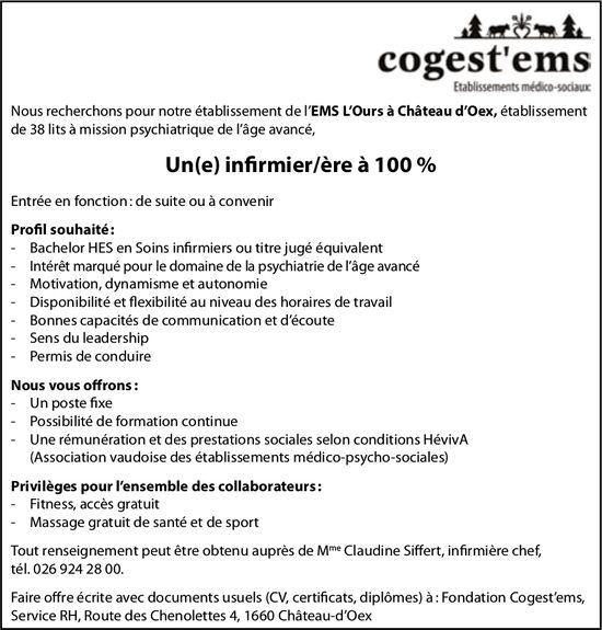 Un(e) infirmier/ère à 100 %, Cogest'ems, Château-d'Oex, recherché