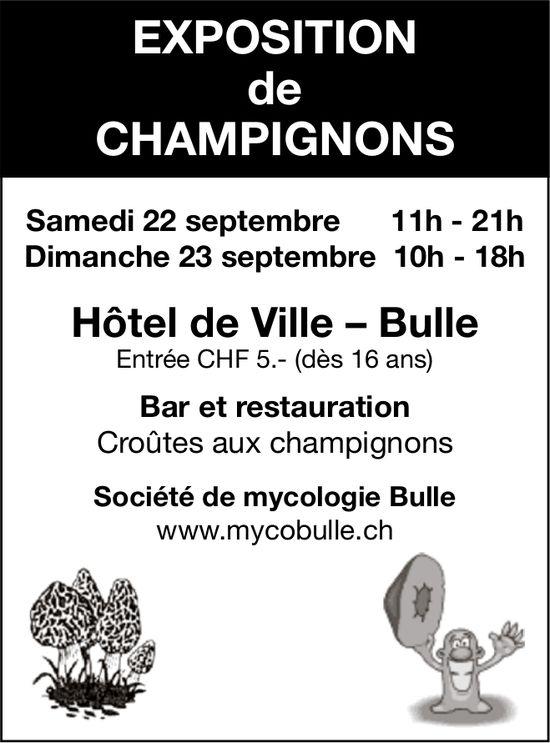 EXPOSITION DE CHAMPIGNONS, 22 et 23 septembre, Hôtel de Ville, Bulle